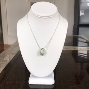 16 inch plated chain green seaglass and shell